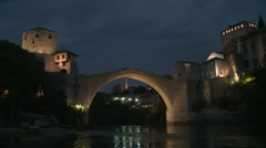 Stari Most. Mostar. night. 1 Stock Footage