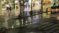 Crosswalk on a street in Tokyo during a typhoon. Stock Footage