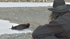 Man with Hat Watching Otter on Beach Stock Footage