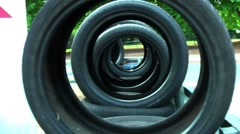 Row Of Tyres Stock Footage