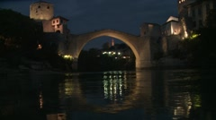 Stari Most. Mostar. night. 3 Stock Footage