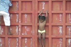 Children playing in Pondicherry India Stock Footage