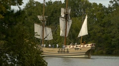 Colonial Era Godspeed boat Canon firing (Sequence) #1 Stock Footage