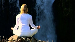 Girl Practicing Yoga Outdoors Stock Footage