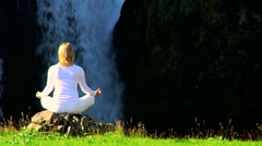 Female Yoga Exercises Outdoors Stock Footage