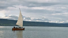Bristol Bay Double Ender Sailboat 2 Stock Footage