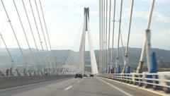 Rio-Andirrio-bridge or Charilaos-Trikoupis-bridge in Greece Stock Footage