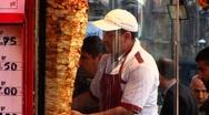 Stock Video Footage of Turkey Istanbul old town Sultanahmet Kebab rolling meat