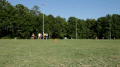 College sports team plays frisbee in a park on a sunny summer afternoon Stock Footage