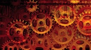 Stock Video Footage of Gear Wheels Red Motion Background