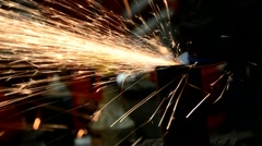 Fabrication grinder sparks Stock Footage