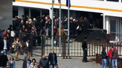 Turkey Istanbul passengers commuters leaving ferry Stock Footage