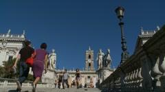 Cordonata steps, Piazza del Campidoglio - slow zoom Stock Footage