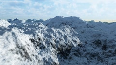 Stock Video Footage of Flying above snowy mountains, CGI