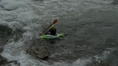 Kayaking on river wide - stock footage