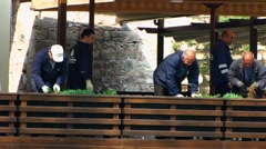 Turkey Istanbul Gulhane Park gardener preparing seedling Stock Footage