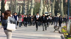 Turkey Istanbul pupils walking at Gulhane Park Stock Footage