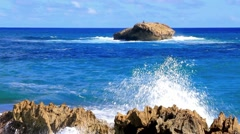 Pacific Ocean Crashes into Laie Point in Hawaii - stock footage