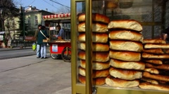 Turkey Istanbul tram traffic vendor Stock Footage
