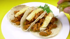 Grabbing a Pastor Style Mexican Taco - stock footage