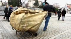 Turkey Istanbul street cleaner Stock Footage