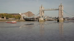 Wide Shot London Tower Bridge Stock Footage