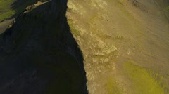 Aerial View of Rugged Volcanic Ridges & Fertile Plains, Iceland Stock Footage