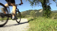 Young man racing on mountain bike during sports activity Stock Footage