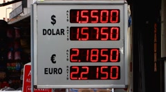 Turkey Istanbul money currency exchange neon signs inflation finance crisis Stock Footage