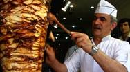 Stock Video Footage of Turkey Istanbul restaurant making Durum Kebab Kebap
