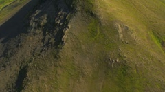Aerial View of Rugged Volcanic Ridges, Iceland Stock Footage