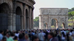 People walking in the street - Rome, Colosseum Stock Footage