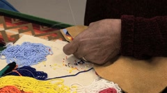 Leather and bead crafting Stock Footage