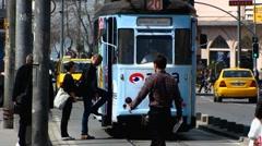 Turkey Istanbul Karakoy bustle urban traffic scene Stock Footage