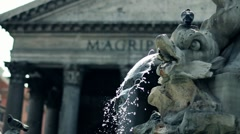 Beautiful shot of the Pantheon in Rome with a fountain in the foreground Stock Footage