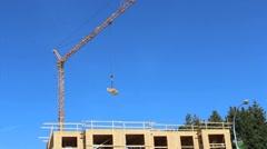 Constuction Crane Carrying Lumber Stock Footage