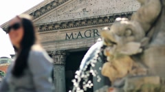 Beautiful shot of the Pantheon in Rome with a fountain in the foreground - stock footage