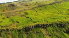 Aerial view of a fertile high plateau with ridges made from lava, Iceland Stock Footage