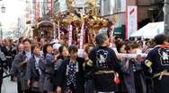 Parade o-mikoshi (portable shrines) in autumn festival, Japan. Stock Footage