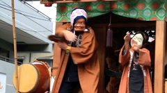 Hyottoko show, part of Choufu annual Festival, Japan. Stock Footage