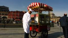 Turkey Istanbul old town Sultanahmet Turkish vendor push-cart Stock Footage