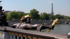 The beautiful Ponte Alexandre bridge over the Seine, in paris, France with the Stock Footage