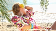 Chilling-out on hammock Stock Footage
