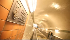 "Close up of a sign in the old ""Hamburger Elbtunnel"" Stock Footage"