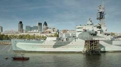 Warship Tower Bridge Stock Footage