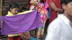 Nepal Street Girl3 LS Stock Footage