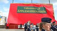 Applemarket in Kivik Stock Footage