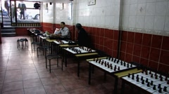 Turkey Istanbul Kurdish coffee house chess board Draughts Stock Footage