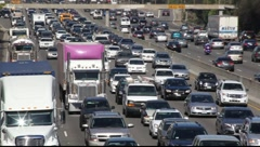 Traffic jam on Los Angeles Freeway during rush hour, California Stock Footage
