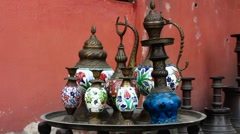 Turkey Istanbul old town Sultanahmet silver ware shop Stock Footage